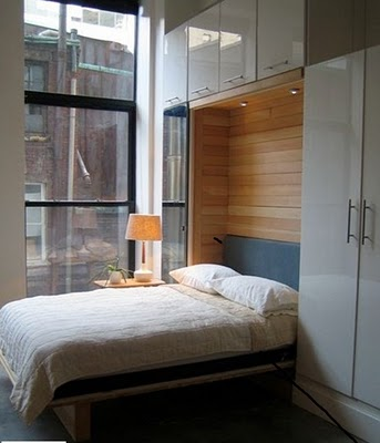 Murphy bed, via Let's Stay