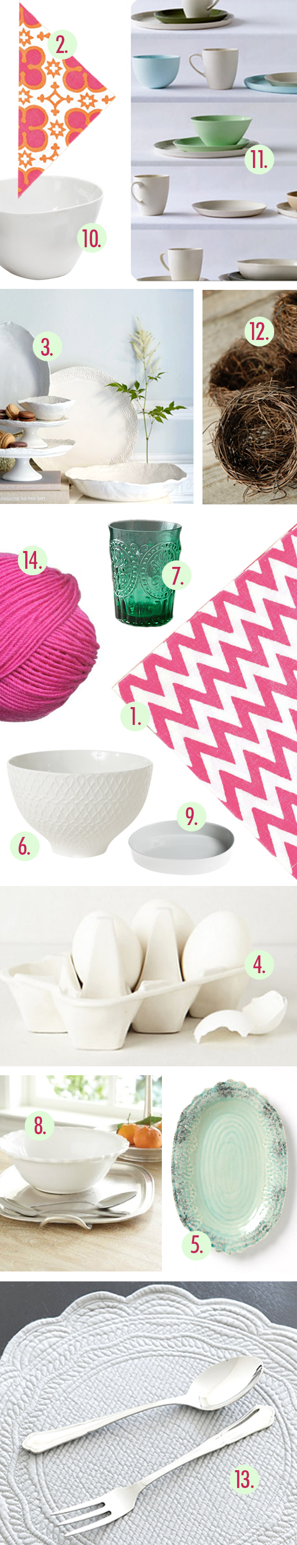 Annette Joseph Table Top Pine Cone Hill Chevron Napkins West Elm Serving dishes Antropologie Dishware Dwell Bowl Bird Nest Egg Crates Fuchsia Yarn