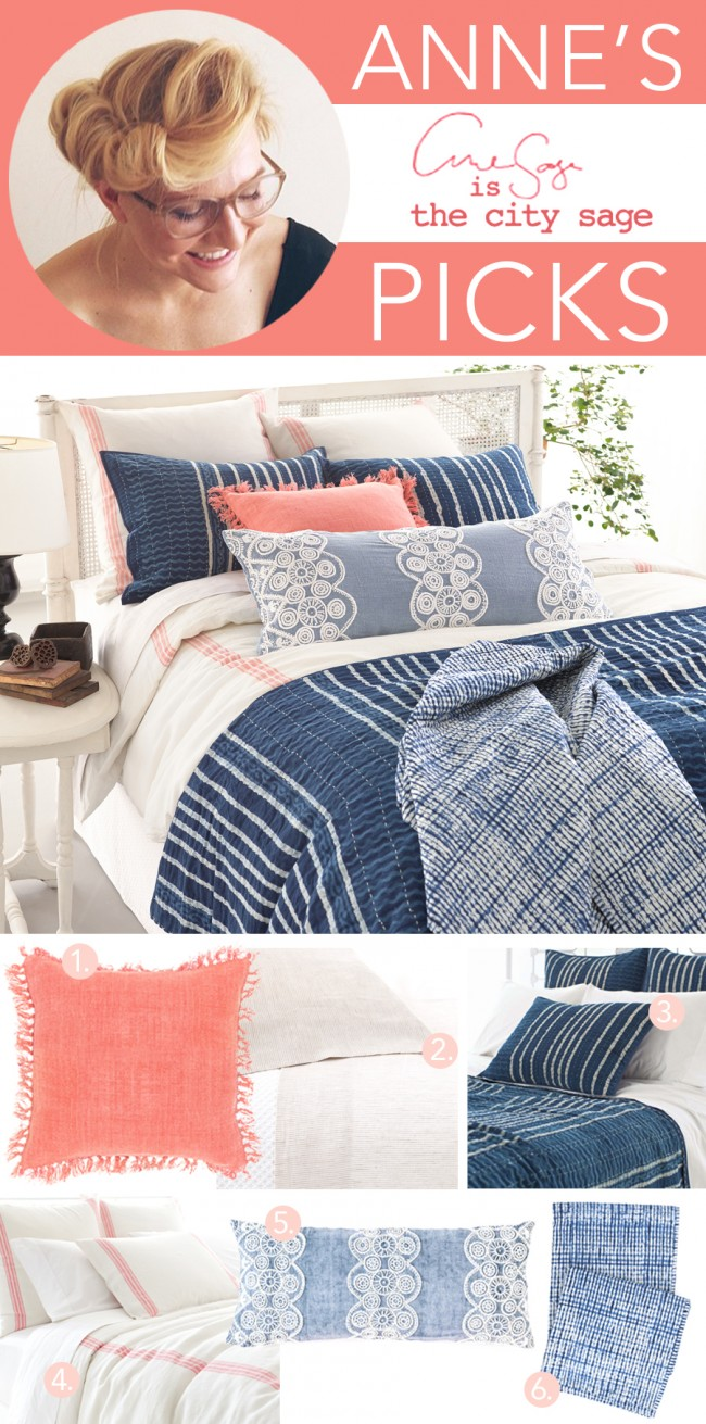 Pine Cone Hill resist stripe quilt shams linen duvet coral pillow tie dye throw linen sheets French Knot pillow Anne Sage