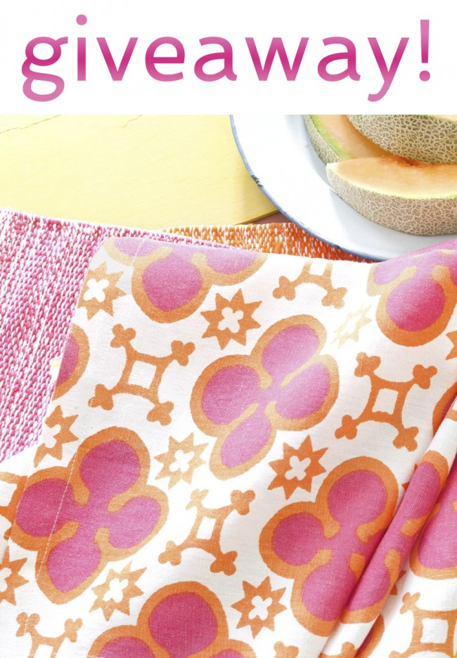 giveaway pine cone hill encaustic fuchsia napkins