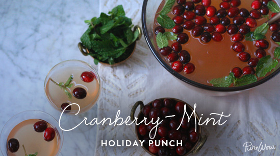 PureWow Cranberry Mint Holiday Punch