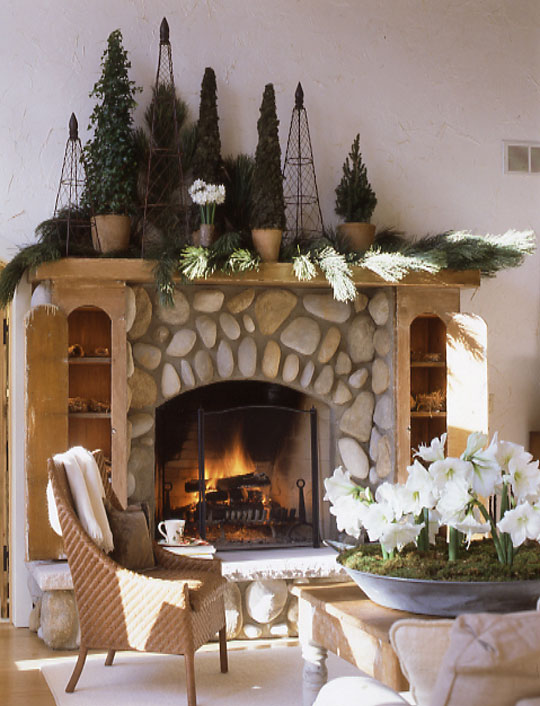 Traditional Home evergreen mantel