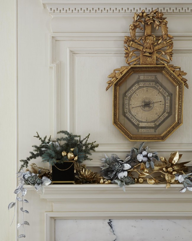 Traditional Home silver and gold vintage mantel