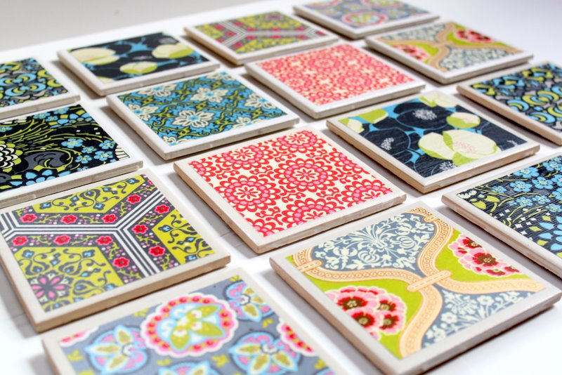 wrapping paper coasters