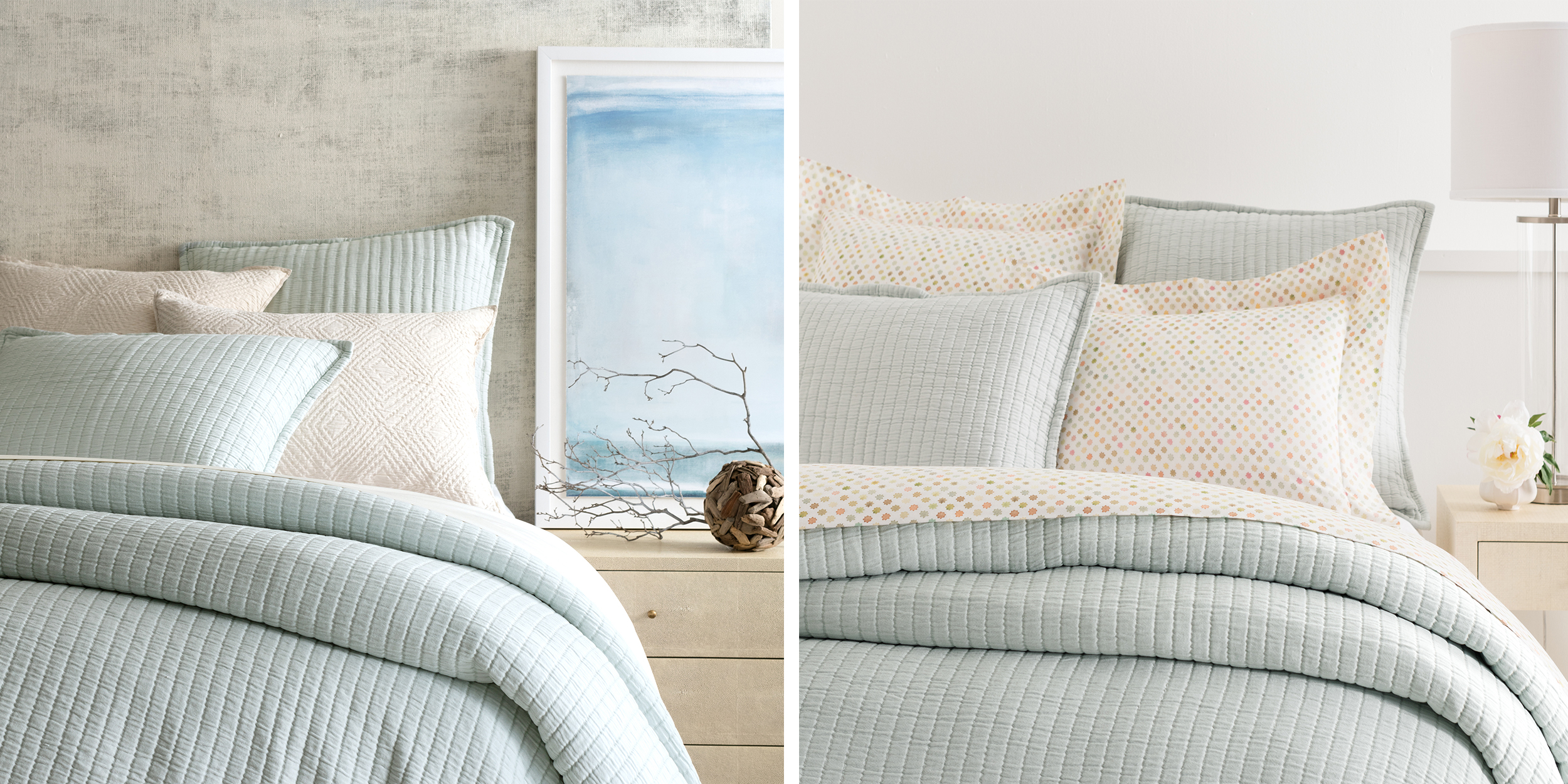 Bed pillows decorative - Boyfriend Sky Matelasse By Annie Selke S Pine Cone Hill Annie Selke S Fresh American Style