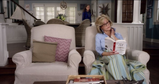Grace and Frankie living room Aquinnah throw