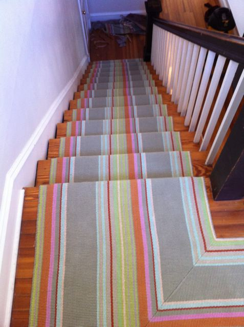 woven cotton rug stair installation