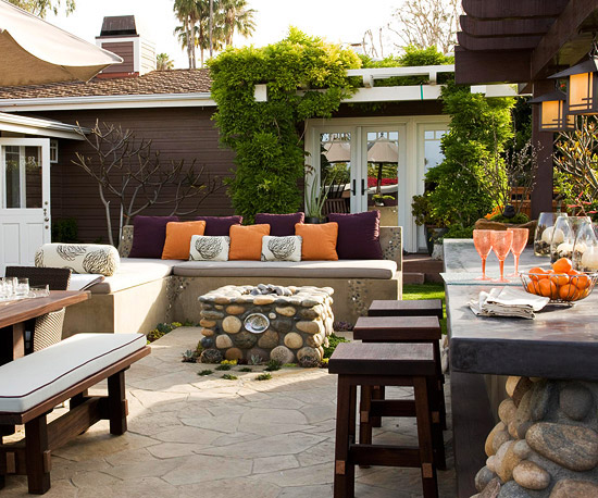 BHG outdoor patio with benches bar fire pit