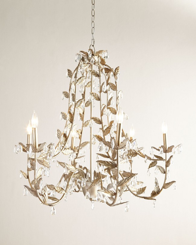 JT Home Furnishings Cascading Leaves 6 Light Champagne Chandelier