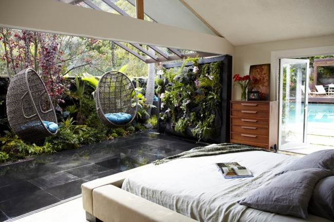 Jamie Durie unusual outdoor space swing chairs bedroom