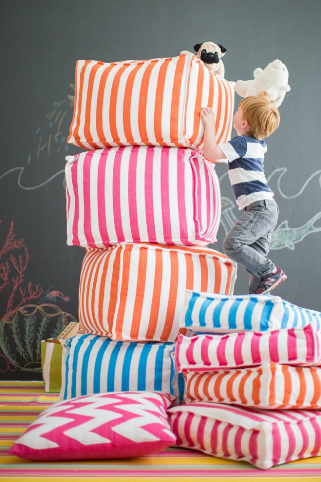 colorful playroom furniture poufs 2