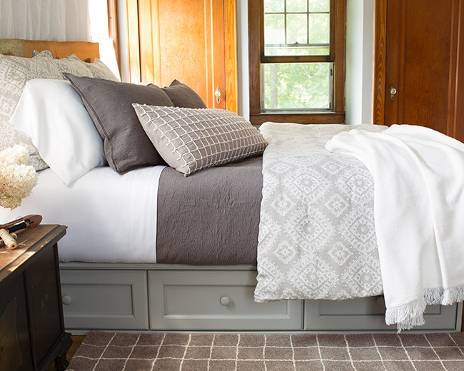 Pine Cone Hill bedroom makeover neutral bedding
