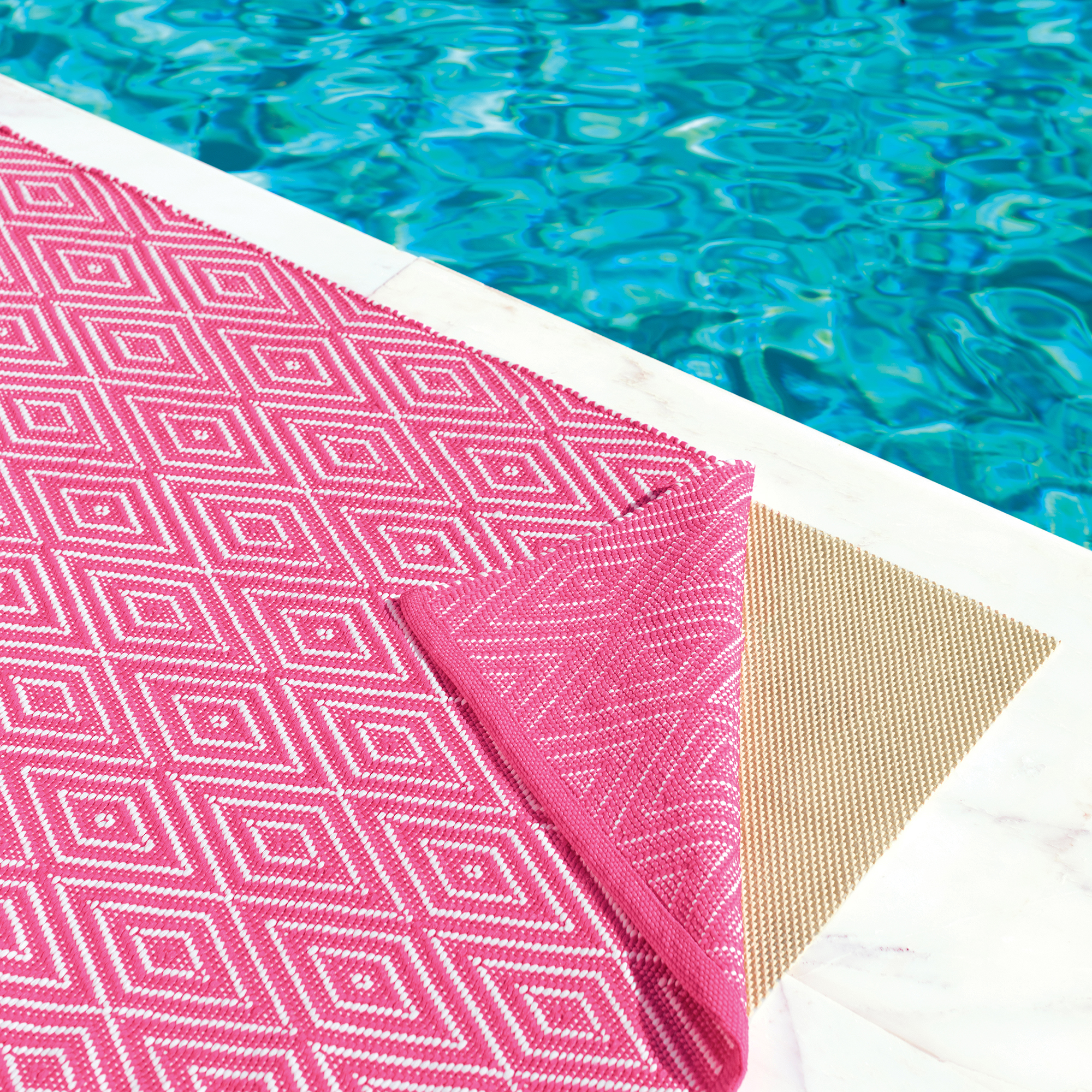 Diamond Fuchsia Rug and Outdoor Rug Pad by Annie Selke's Dash & Albert | Fresh American Style