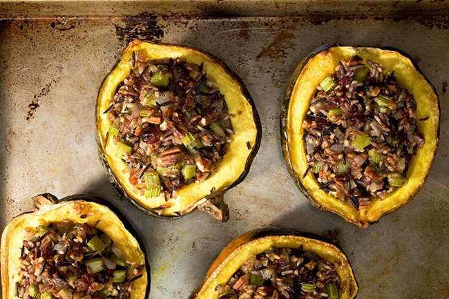 Chowhound Roasted Acorn Squash with Wild Rice Stuffing