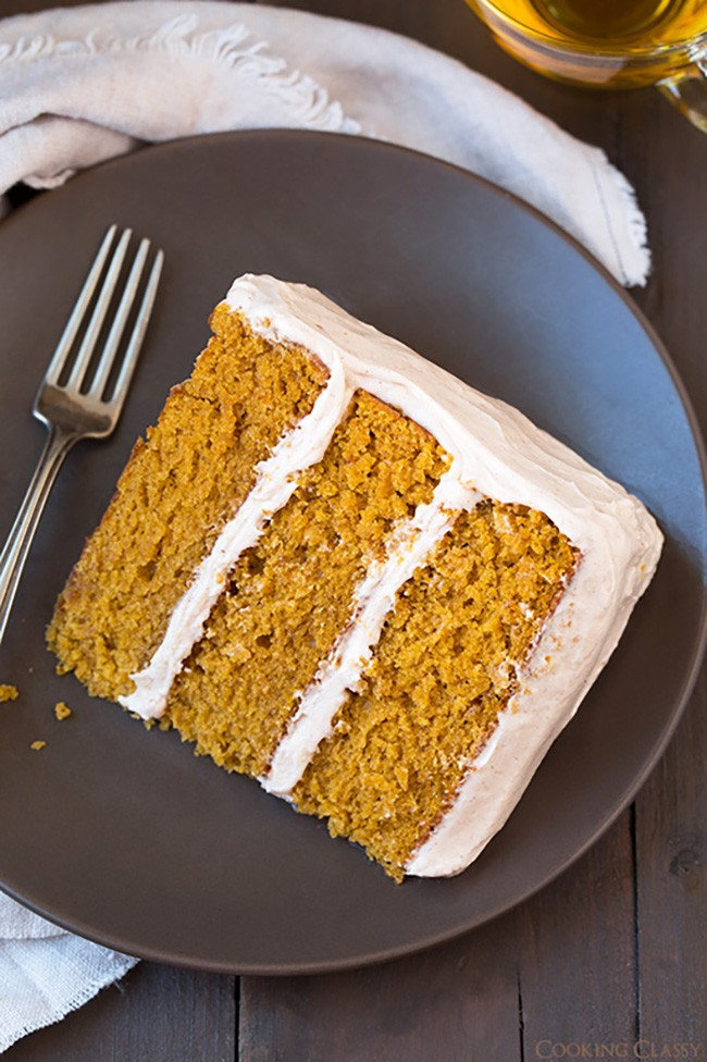 Pumpkin Cake with Cinnamon Cream Cheese Frosting from Cooking Classy