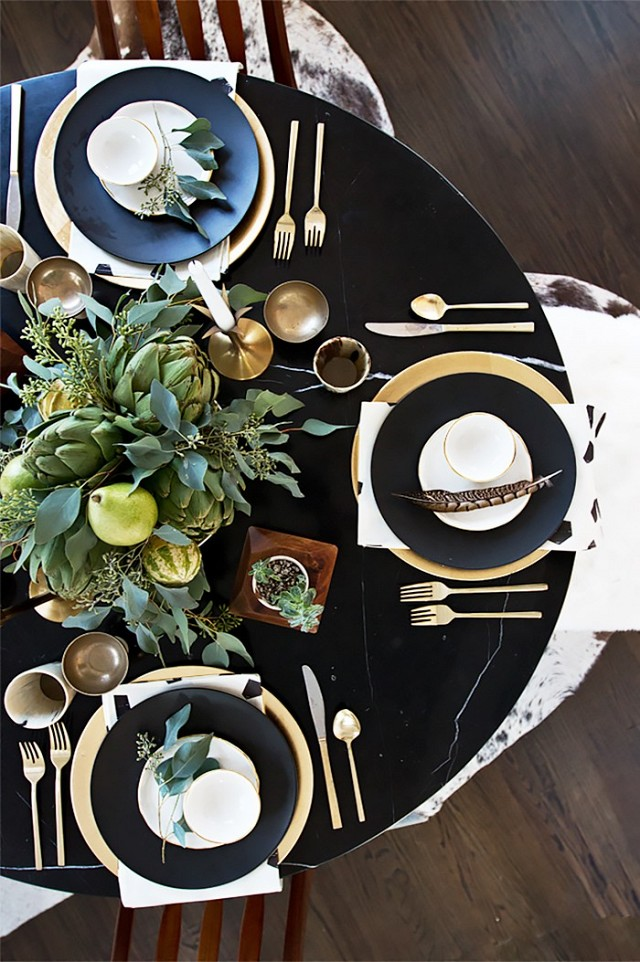 Holiday tablescape black and white My Domaine