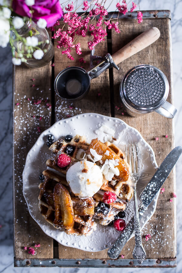 Whole-Wheat-Belgium-Chocolate-Chip-Waffles-with-Coconut-Caramelized-Bananas-8