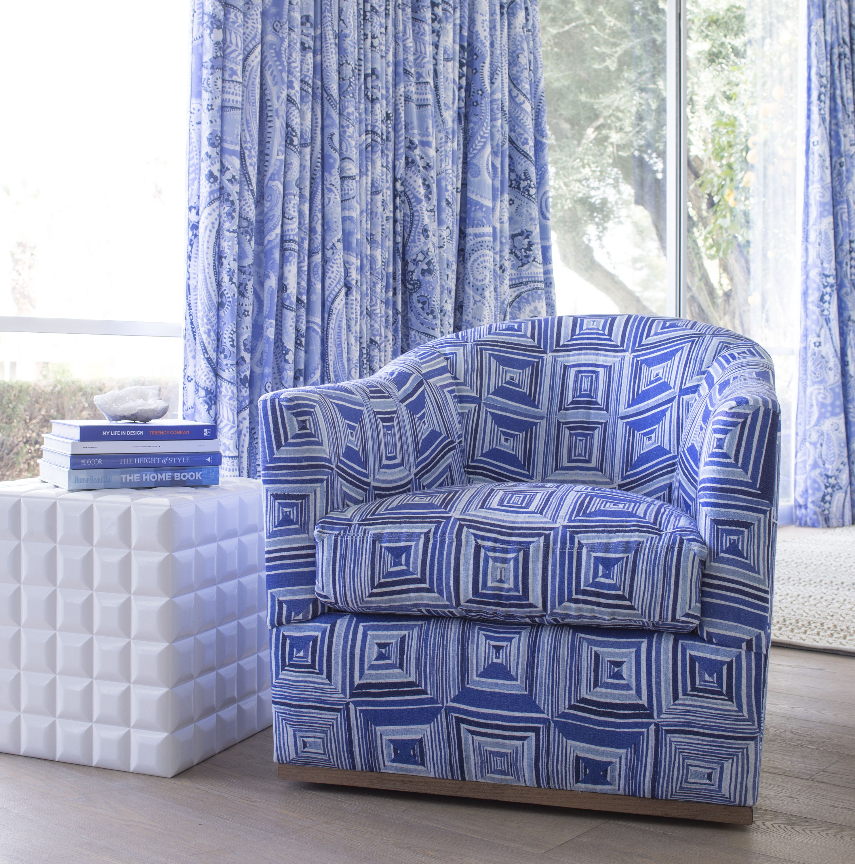 Geo Floral Blue Chair by Annie Selke | Fresh American Style