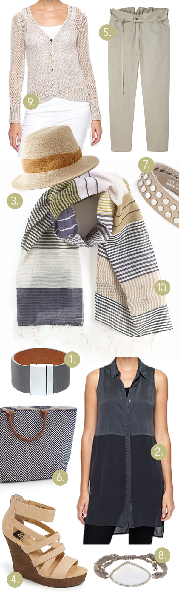 Pine Cone Hill Chesapeake scarf le tote cuff bracelets cropped pant fedora hat strappy wedge sandal Eileen fisher sweater top