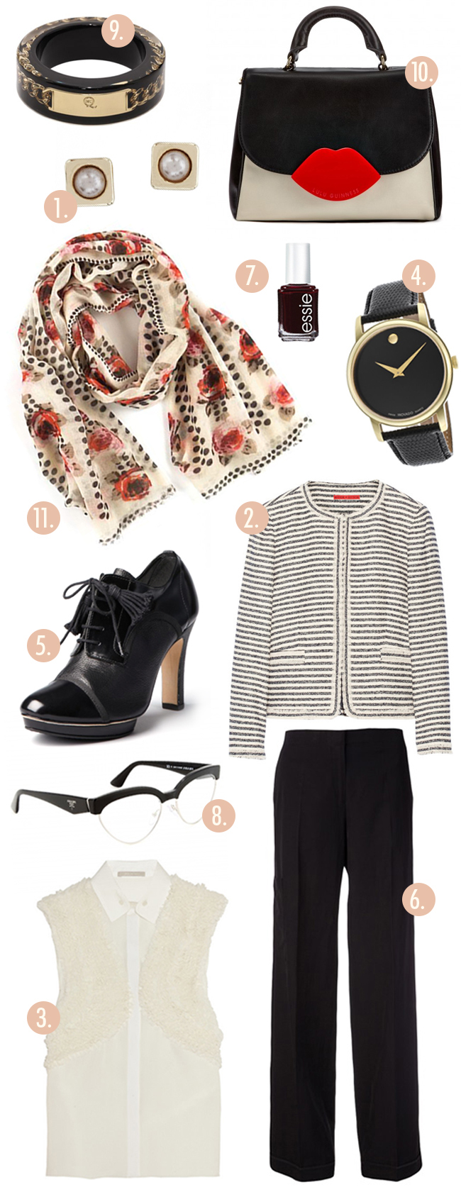 Pine Cone Hill Rose Dots Scarf Striped jacket Movado watch Black trousers Pearl Earrings