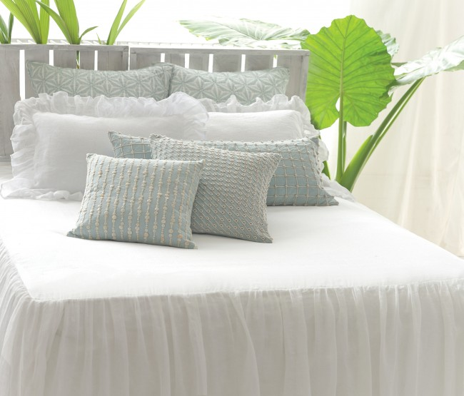 Pine Cone Hill linen bedspread embroidered pillows