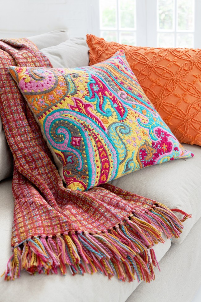 paisley embroidered pillow wool throw