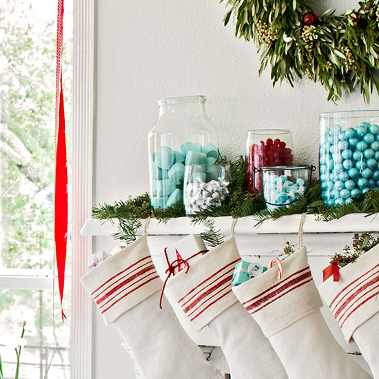 BHG candy display holiday mantel