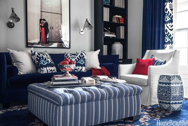 Mary McDonald Blue Eclectic Pattern Living Room House Beautiful