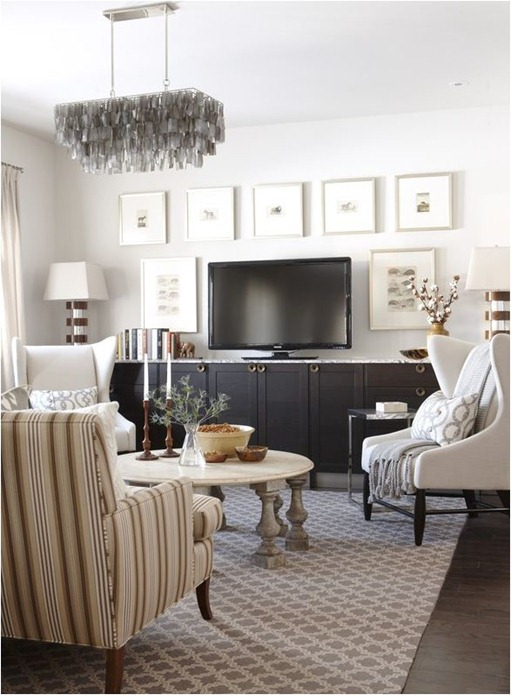 Sarah Richardson via Centsational Girl how to decorate around a TV