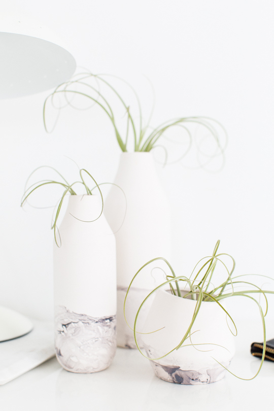 DIY marble dipped vessels Sugar and Cloth