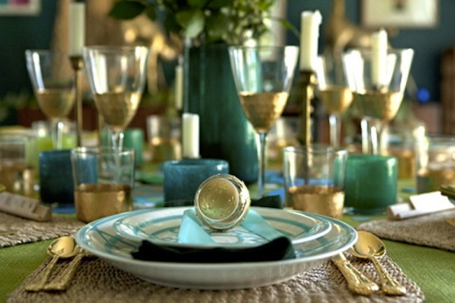 Emily Henderson blue and gold holiday table PopSugar