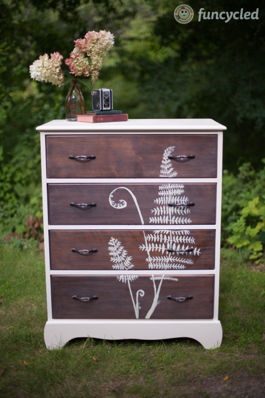 Funcycled hand painted botanical dresser