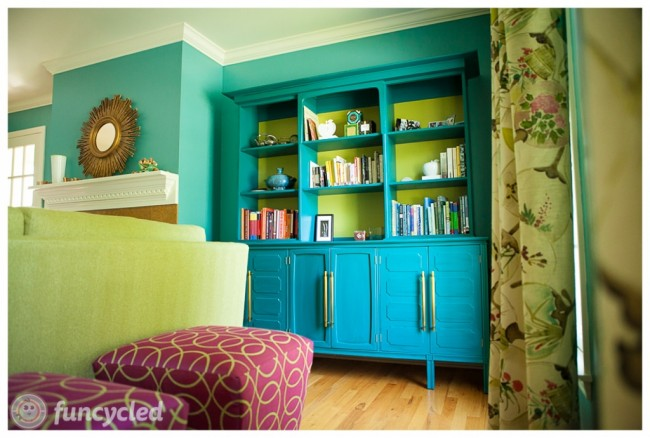 Funcycled painted turquoise credenza