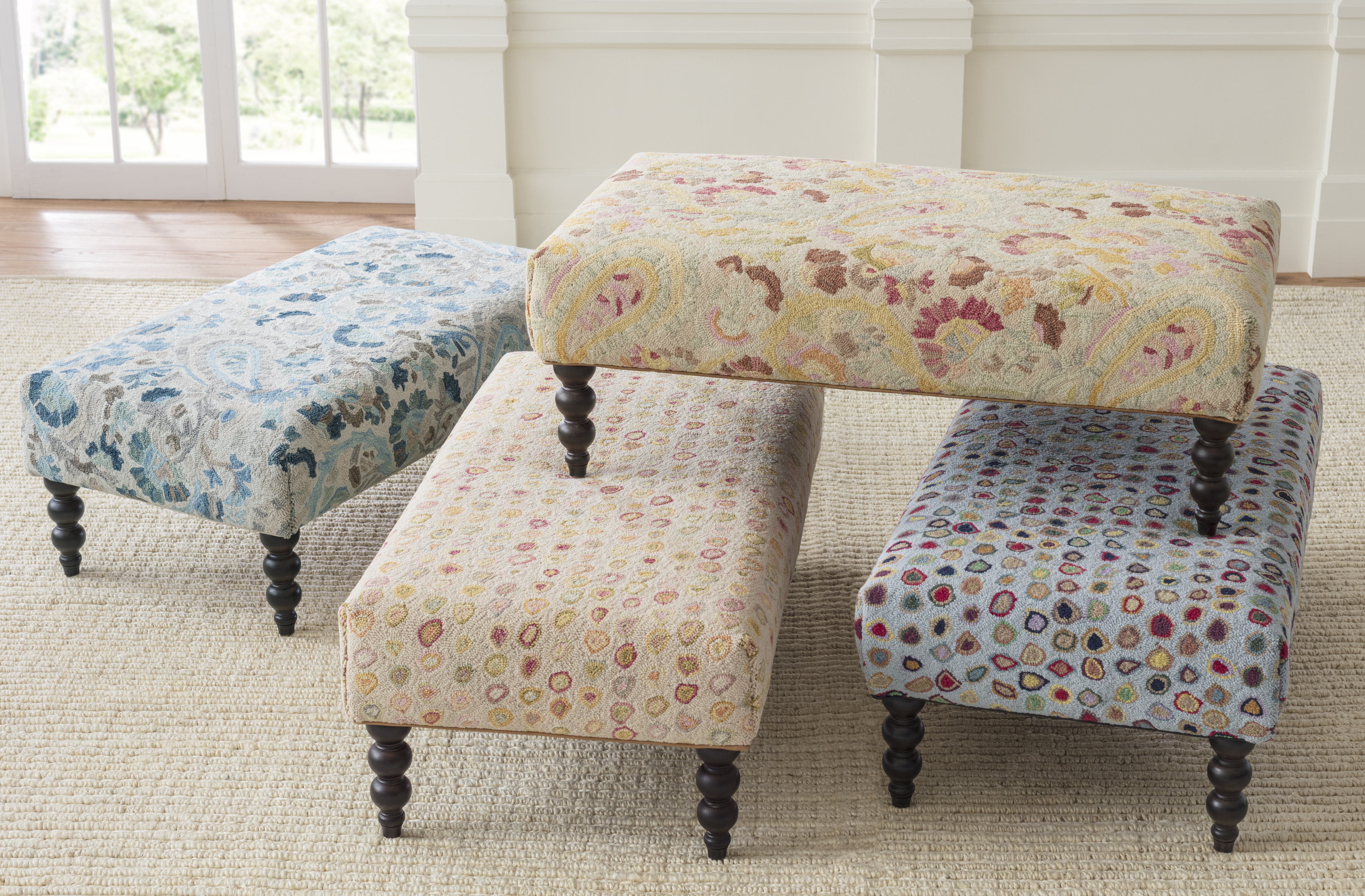 School of Decorating: Get in the Hot Seat with our Ever Popular Rug Ottomans   Annie Selke's Fresh American Style
