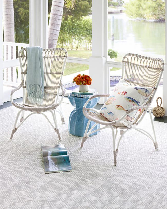 Outdoor Living: Rug Ottomans/Entertaining | Annie Selke's Fresh American Style